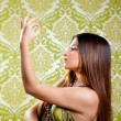 Asian Indian brunette girl with long hair dancing — Stock Photo #10032700