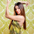 Asian Indian brunette girl with long hair dancing — Stock Photo #10032803