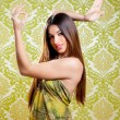 Asian Indian brunette girl with long hair dancing — Stock Photo #10032879