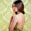 Stock Photo: Asian Indian brunette beautiful girl sexy back dress