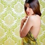 Asian Indian brunette beautiful girl sexy back dress — Stock Photo #10033450