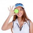 Brunette tennis girl white dress and sun visor cap — Stock Photo #10034437