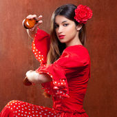 Castanets gipsy flamenco dancer Spain girl — Stock Photo