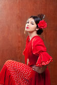 Flamenco dancer Spain woman gipsy with red rose — Stock Photo