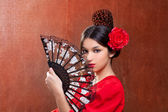 Gipsy flamenco dancer Spain girl with red rose — Stock Photo