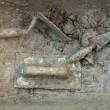 Cement mortar dirty grunge trowel tools - Stock Photo