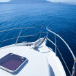 Boat sailing in Mediterranean sea — Stock Photo