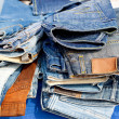 Blue jeans denim fashion pants mixed stacked — Stock Photo
