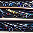 Colorful hairdressing scissors titanium professional - Stock Photo