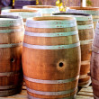 Barrels of oak wood for wine or liquor - Stock Photo