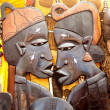African handcraft wood carved profile faces — Stock Photo