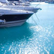 Blue mediterranean sea water in marina port — Stock Photo
