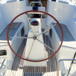 Boat stern with big steering wheel sailboat — Foto Stock