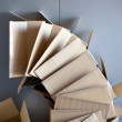 Carton open boxes stacked on curved circle shape - Stockfoto