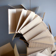 Carton open boxes stacked on curved circle shape - Stock Photo