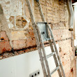 Stock Photo: Demolition debris in kitchen interior construction