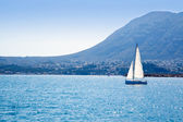 Sailboat sailing in Mediterranean sea in Denia — Stock Photo