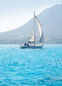 Sailboats sailing in mediterranean sea — Stock Photo