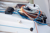Boat winches and sailboat ropes detail — Stock Photo