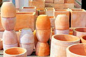 Ceramics pottery big pots for garden plants — Stock Photo