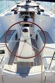 Boat stern with big steering wheel sailboat — Stock Photo