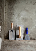 Construction stainless steel trowel tools and spatula — Stock Photo