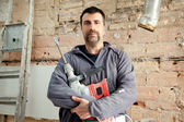 Demolition hammer man mason manual worker — Stock Photo