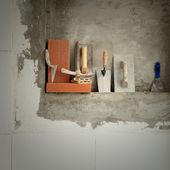 Herramientas de construcción mason cemento mortero — Foto de Stock