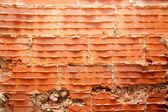 Broken bricks in brickwall in wall restoration — Stock Photo