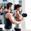 Gym woman personal trainer with weight training — Stock Photo #8510539