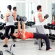 Stock Photo: Group of in sport fitness gym weight training