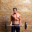 Muscle shaped body man with weights on brick wall - Stock Photo