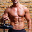 Muscle shaped body man with weights on brick wall — Stock Photo