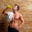 Muscle shaped man at gym relaxed drinking — Stock fotografie