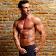 Muscle shaped man posing on gym brick wall — Stock Photo