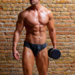 Muscle shaped underwear man with weight on gym - Stock Photo