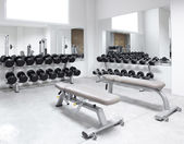 Fitness club weight training equipment gym — Stock Photo