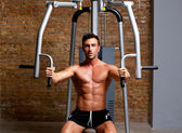 Muscle man exercise on sport gym fitness club — Stock Photo