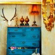 Royalty-Free Stock Photo: Baroque grunge vintage house with blue drawer