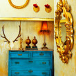 Baroque grunge vintage house with blue drawer - Stock Photo