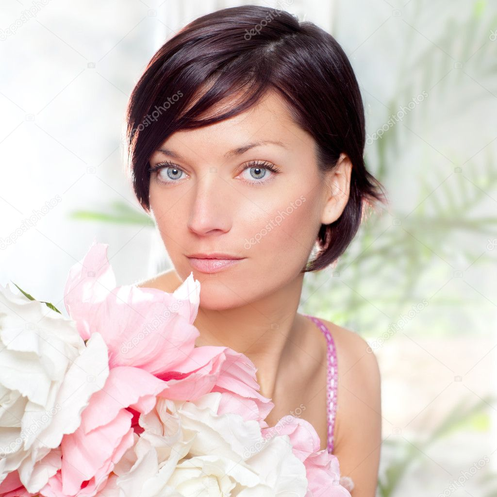 Beautiful flowers woman with spring pink dress portrait  Stock Photo #8699887