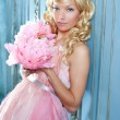 Blond fashion princess and vintage flowers dress - Stock Photo