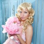 Blond fashion princess and vintage flowers dress — Stock Photo