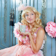 Blond fashion princess woman drinking tea or coffee — Stock Photo