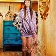 Stock Photo: Futuristic fashion woman in retro grunge home
