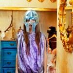 Futuristic fashion woman in retro grunge home — Stock Photo