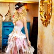 Blond fashion woman in vintage baroque with umbrella — Stock Photo