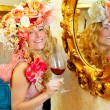 Fashion baroque blond womand drinking red wine — Stock Photo