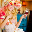 Fashion baroque blond womand drinking red wine — Stock Photo #8701611