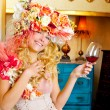 Fashion baroque blond womand drinking red wine — Stock Photo #8701614
